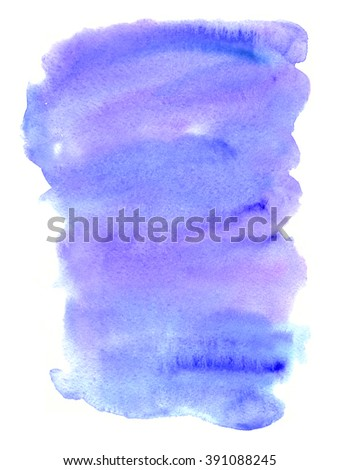 Hand drawn watercolor wash. Colorful paint stain. Vertical background in blue and purple. Grunge design element in evening sky colors.