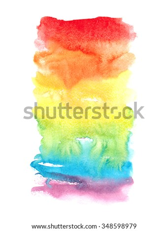 Hand drawn watercolor wash. Colorful paint stain. Vertical background in rainbow colors. Grunge design element in bright juicy colors.  - stock photo