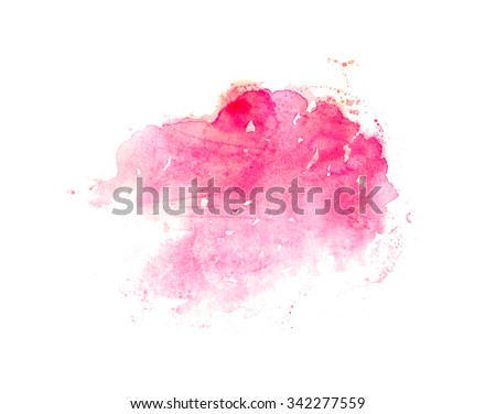 Hand drawn watercolor wash in pink and red. Design element for romantic card or beauty banner with text.  - stock photo