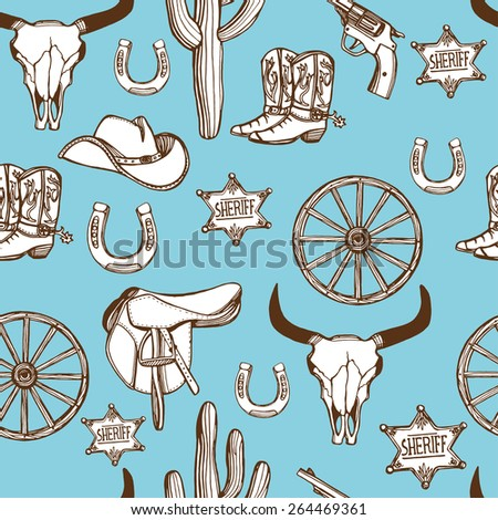 Hand drawn Wild West western seamless pattern. Cowboy hat, cowboy boots, gun, sheriff star, horseshoe, cactus, wheel, cow skull. Blue background - stock photo