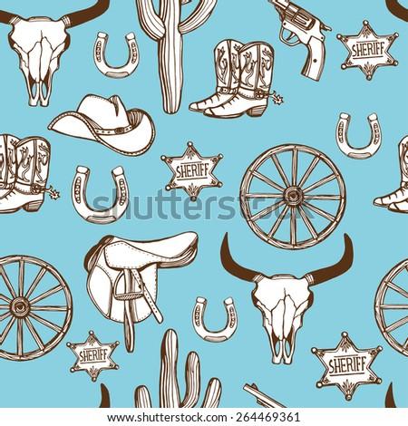 Hand Drawn Wild West Western Seamless Stock Vector ...