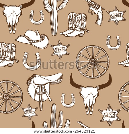 Hand drawn Wild West western seamless pattern. Cowboy hat, cowboy boots, gun, sheriff star, horseshoe, cactus, wheel, cow skull. Brown background - stock photo