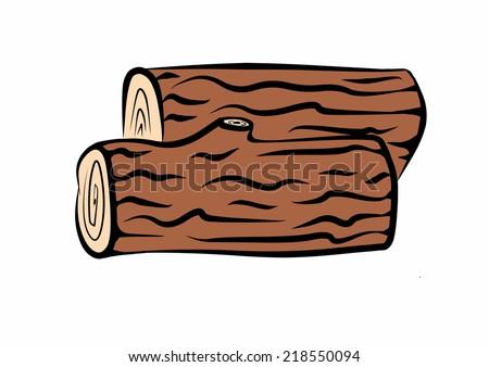 Wood Log Cartoon ~ Hand drawn wood logs stock illustration