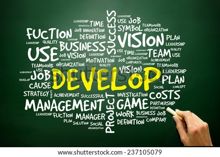Hand drawn Word cloud of DEVELOP related items, business concept on blackboard - stock photo