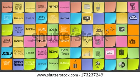 hand drawn words icons of business strategy on sticky note as concept - stock photo