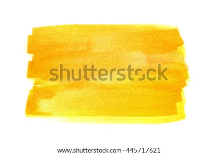 Hand drawn yellow watercolor rectangle on white background