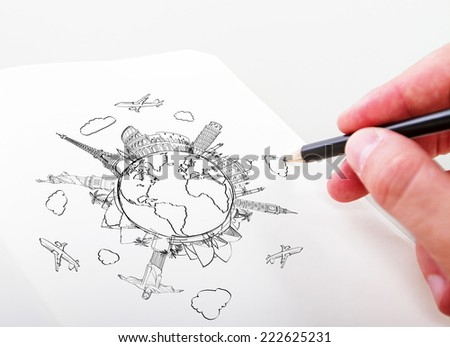 hand drawning travel concept in a paper - stock photo