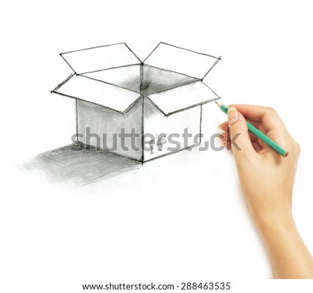 Hand draws a pencil post box on a white background - stock photo