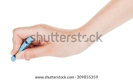 hand draws by blue crayon isolated on white background