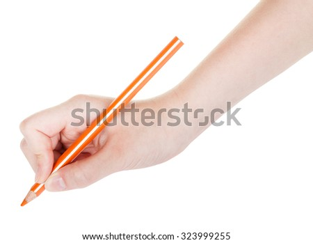 hand draws by wooden orange pencil isolated on white background - stock photo