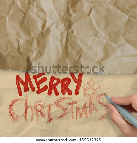 hand draws Christmas Card on wrinkled paper as vintage style concept - stock photo