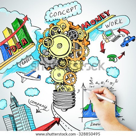 Hand draws idea concept of business model - stock photo