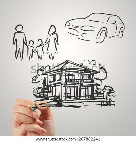 hand draws planning family future as concept  - stock photo
