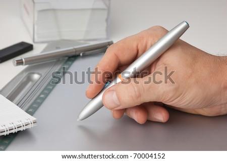 hand draws tablet pc - stock photo