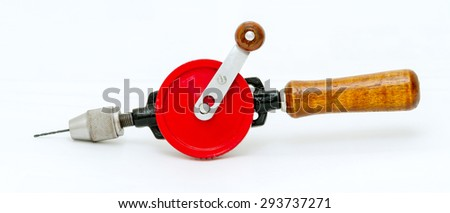Hand drill on white background.