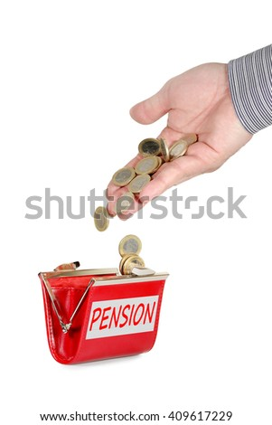 hand dropping euro coins into purse with pension label isolated on white