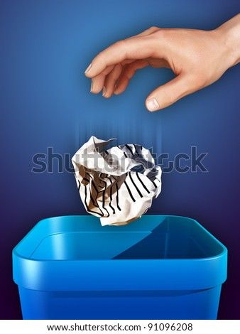 Hand dropping some crumpled paper in a trash can. Digital illustration. - stock photo