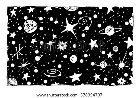 Hand Drown Scratch Style Night Sky Background Space Stars And Planets