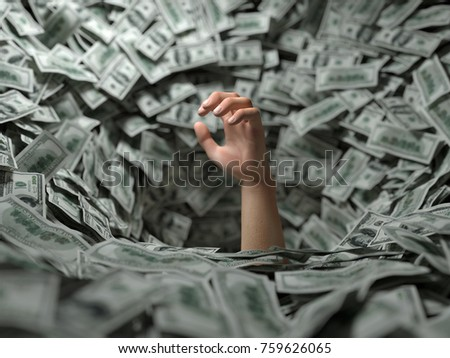 hand drowning in money, 3d illustration
