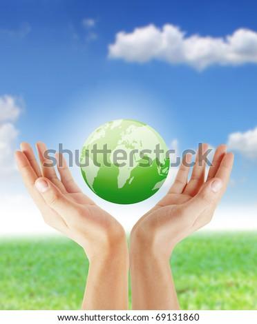 hand earth - stock photo