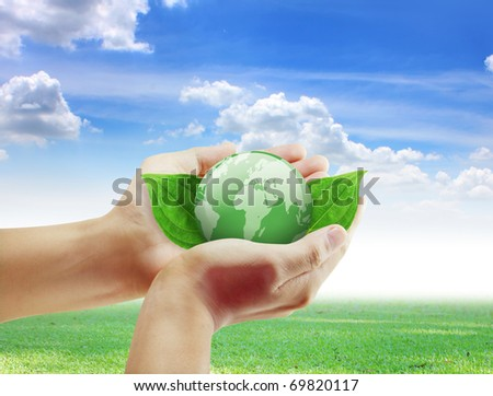 hand earth - stock photo
