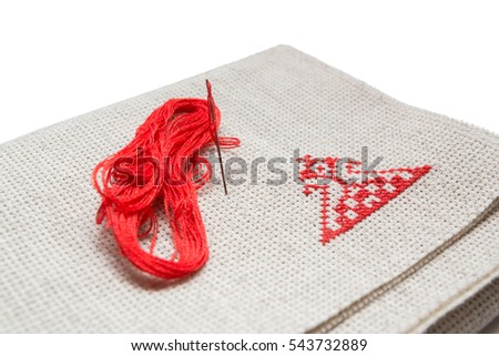 Hand embroidery red ornament
