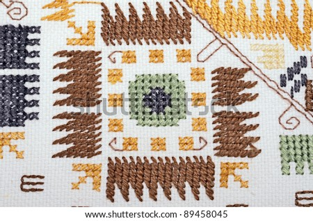 Hand embroidery.Traditional models of embroidery with silk threads,Bulgaria .Using the background