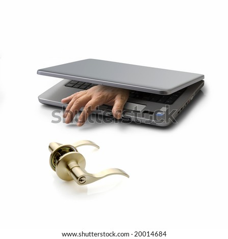 hand emerging from a closed pc laptop trying to open a door lock - stock photo