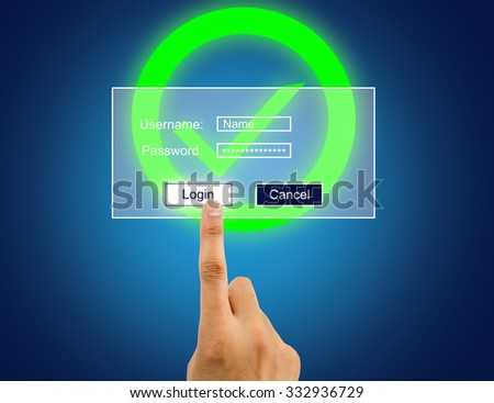 hand enter the password for internet connection to access user desktop correctly - stock photo