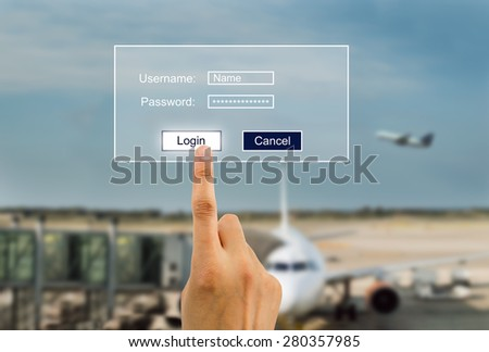 hand entering password to buying plane tickets online.All screen content is designed by us and not copyrighted by others and created with wacom tablet and ps - stock photo