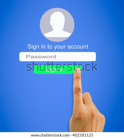 hand entering the correct password for internet connection to access user profile - stock photo