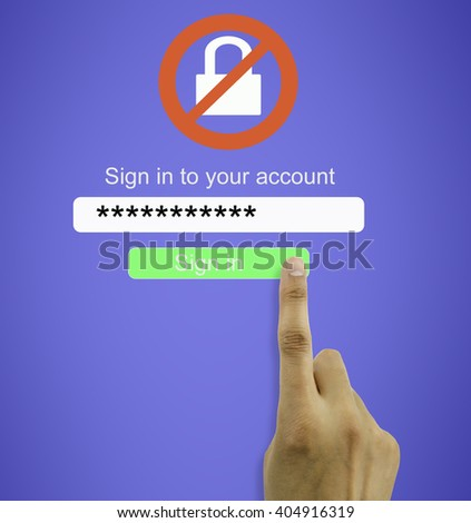 hand entering the wrong password for internet connection to access user account wrongly - stock photo