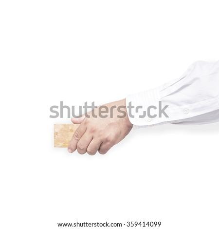 Hand erasing the whiteboard. Isolated on white background. - stock photo