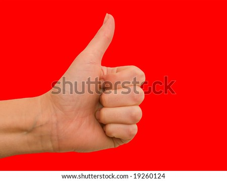 Hand female on a red background