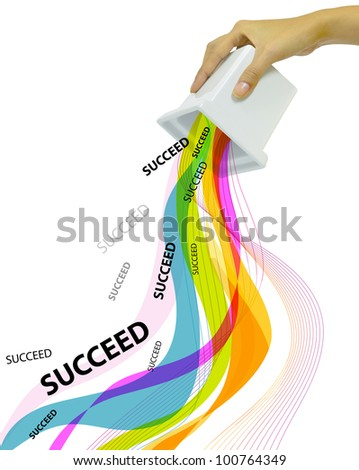 Hand Fill and Tilt Business  and Education Word Succeed - stock photo