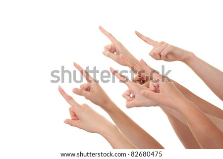 Hand finger pointing isolated - stock photo