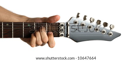 Hand fingering 'Am' chord on electric guitar, isolated on white background - stock photo