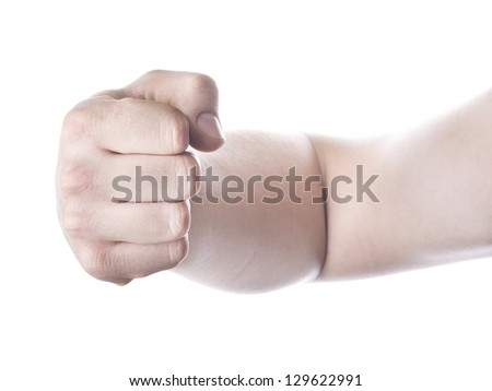 Hand, fist, elbow,  isolated on a white background . - stock photo