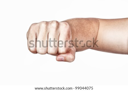 Hand, fist, elbow. On a white background. - stock photo