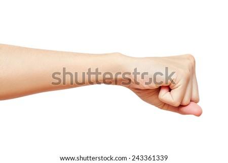 Hand fist isolated on white background. studio photo - stock photo