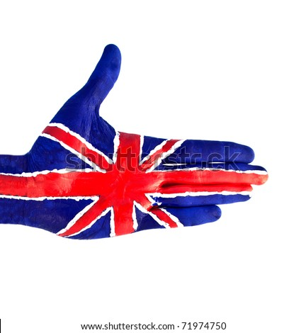 hand flag of Great Britain - stock photo