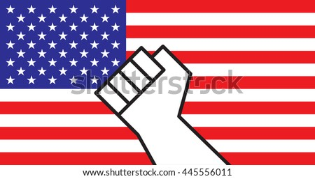 Hand forming a fist up in the air with a US flag in the background