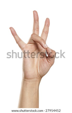 hand forming symbol  white back ground isolated - stock photo