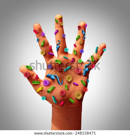 Hand germs disease spread and the dangers of spreading illness in public as a health care risk concept to not wash your hands as dirty infected fingers and palm with microscopic viruses and bacteria. - stock photo