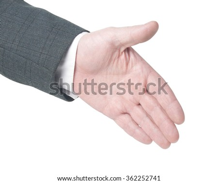 Hand gesture handshake.cliping path - stock photo