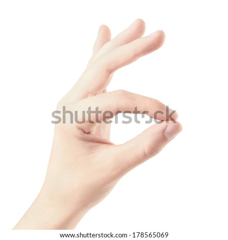 Hand gesture, isolate on white background - stock photo