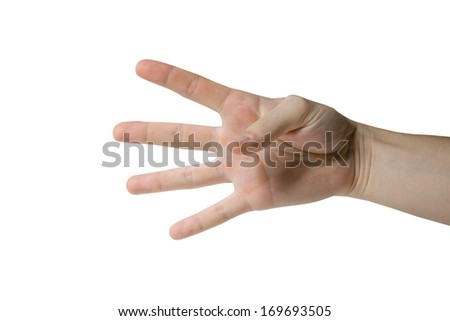 Hand gesture isolated in white ai the studio
