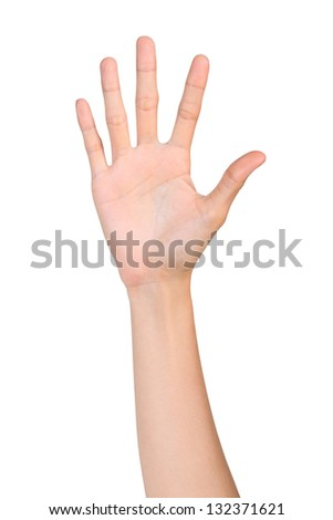 Hand gesture number five isolated on white background