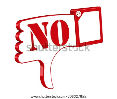 """Hand gesture of disapproval, disagreement, negation (THUMBS DOWN) with inscription """"NO"""". Isolated - stock photo"""