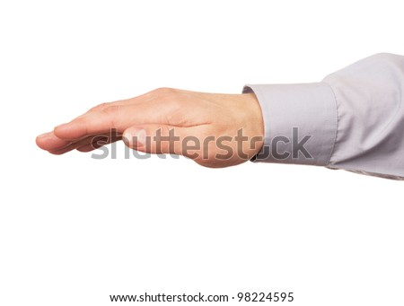 Hand gesture of male hand, isolated against white background - stock photo